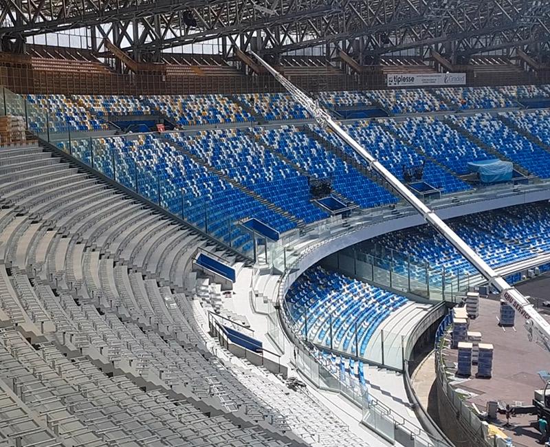 Ristrutturazione Stadio San Paolo di Napoli, fornitura in tempi record sottostrutture per le nuove sedute