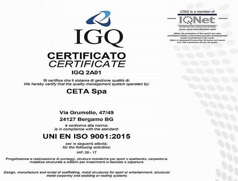 Rinnovo del Certificato della Gestione Qualità